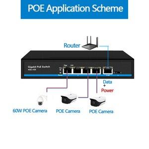 Image 4 - 4 יציאת PoE Gigabit Ethernet מתג 1 יציאת Gigabit אינטרנט מתג POE מתג 5x10/100/1000 mbps RJ45 יציאת PoE 48v