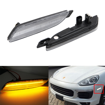 2PCS Clear LED Side Marker Lamp For Porsche Cayenne Gen 2015-2019 Amber