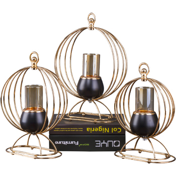 Personalized Black Nordic Small Round Candle Holder Metal Romantic Dining Table Centerpieces Candlesticks Gold Home Decor II50ZT