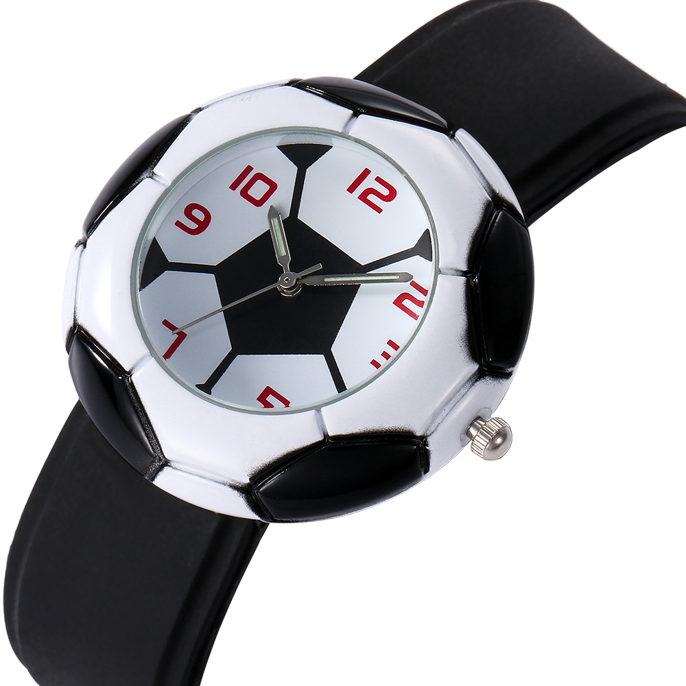 Football Design Dial Kids Watch Blue Black Round Case Silicone Cool Children Watch Kids Boys Babys Gift Montre Enfant 2019