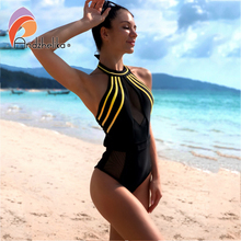 Andzhelika סקסי מקשה אחת בגד ים נשים Mesh טלאים בגדי ים סטרפלס ללא משענת 2020 קיץ חוף בגד ים Monokini