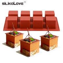 5*5cm silicone 8 cavidade forma quadrada bolo molde para assar sobremesa gelo-cremes mousse molde fondant ferramentas de decoração