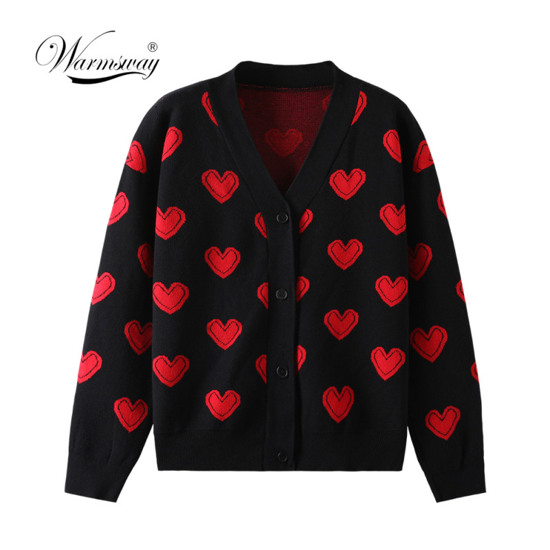 Love Heart Pattern Warm Sweater Jackets Autumn Winter New Women Elegant Knitting Vintage V Neck Loose Thick Cardigans Coat C-110