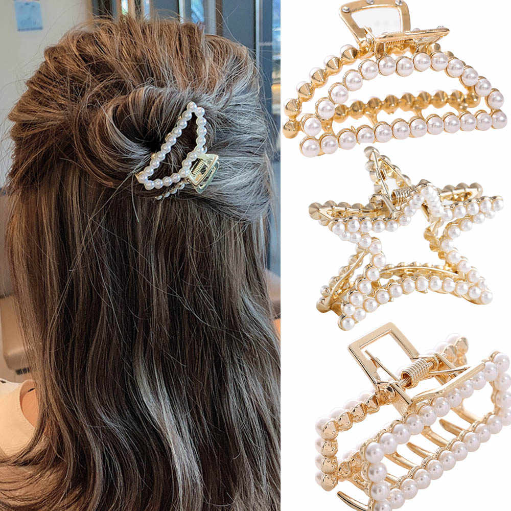 Women Girls Geometric Imitation Pearl Hair Claw Clamps Hair Crab Moon Shape Hair Clip Claws Solid Color Accessories Hairpin