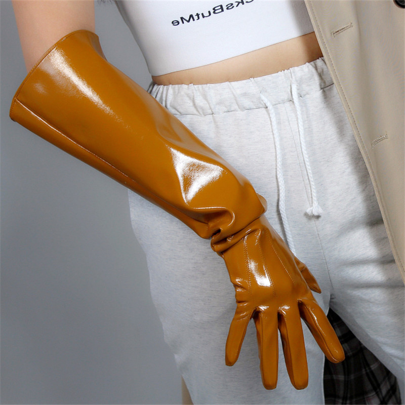 Patent Leather Long Gloves 50cm Puff Sleeve Emulation Leather Imitation Leather Bright Brown Caramel Cream Camel Female PU132