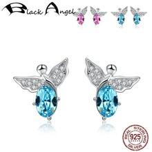 Cute Flying Butterfly With Pink Blue Crystal Stud Earrings For Women Genuine 925 Sterling Silver CZ Fine Jewelry