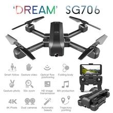 SG706 Drone 4K z podwójny aparat 50x zoom WiFi FPV Selfie składany Profissional zdalnie sterowany dron helikopter Quadrocopter RTF VS SG907