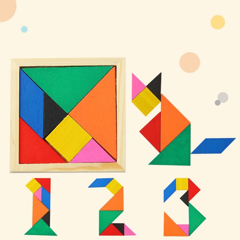 Tangram Jigsaw Puzzle Sliding Colorful Wooden IQ Children Puzzle Toys Logic Game Intelligence Imagination Toy Brain Teaser Kids