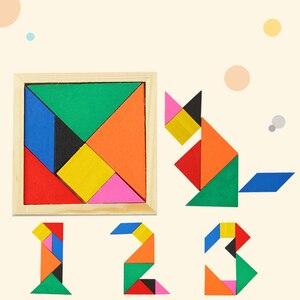 Tangram Jigsaw Puzzle Sliding Colorful Wooden IQ Children Puzzle Toys Logic Game Intelligence Imagination Toy Brain Teaser Kids(China)