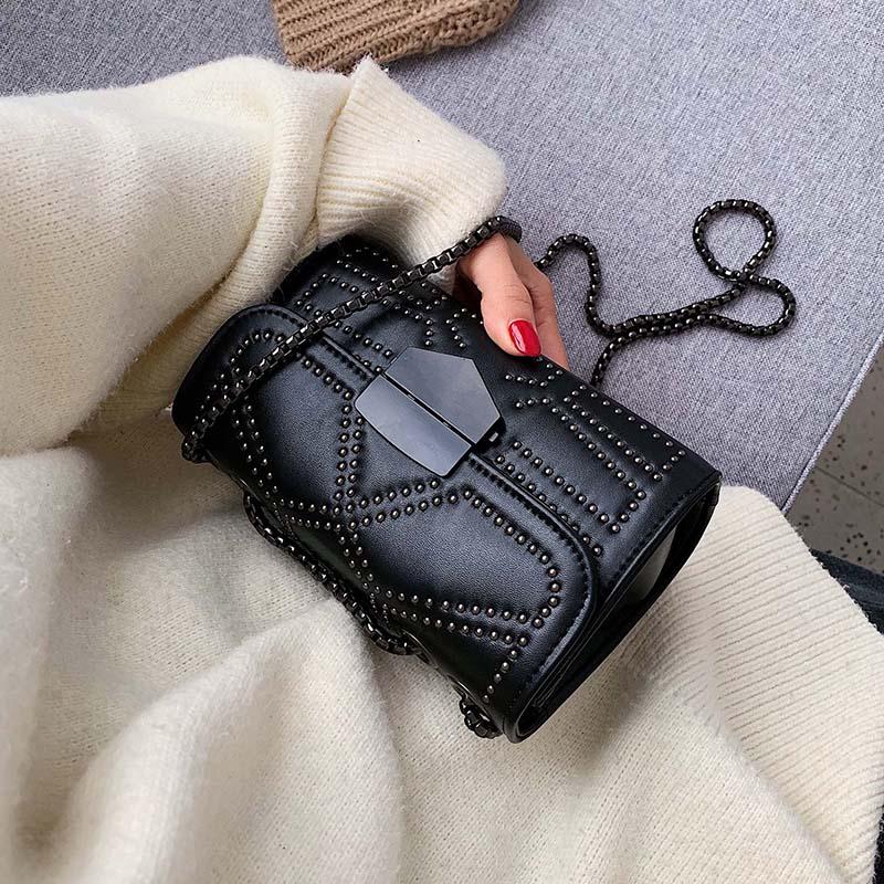 Small PU Leather Crossbody Bags For Women 2020 Rivets Shoulder Messenger Bag Female Travel Handbags Chain Cross Body Bag