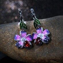 Utimtree Top Quality New Handmade Enamel Flower Crystal Dangle Earrings Women 925 Sterling Silver Drop Earring for Wedding Party