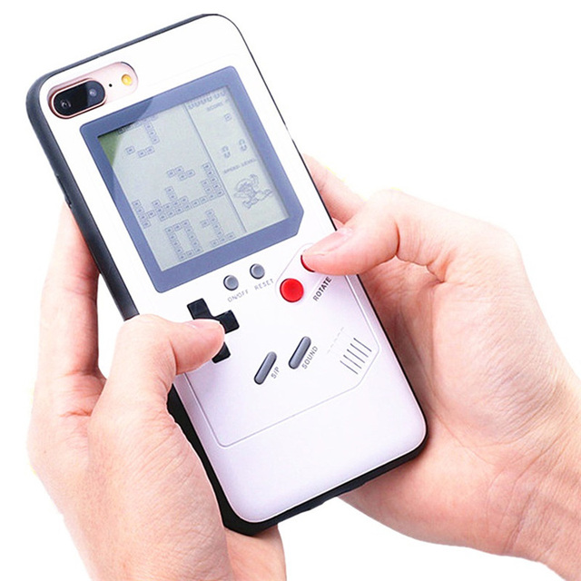 Tetris Game Phone Case for iPhone 11 Pro XS Max XR X 6S 6 7 8 Plus Soft TPU Frame Console Game Boy Silicone Phone Cases Funda