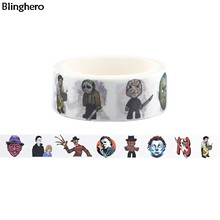Blinghero Vier Wrede Killers 15 Mm X 5 M Michael Myers Washi Tape Horror Afplakband Cartoon Plakband Stickers decal BH0144(China)