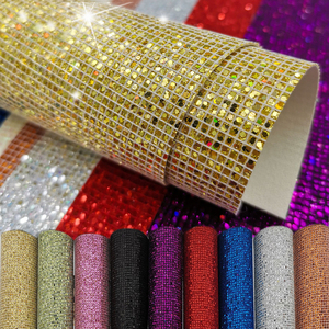 Plaid Sequin Glitter Iridescent Fabric Faux Synthetic PU Leather Sewing Handmade Bow Craft Bag Earring DIY Material Sheet