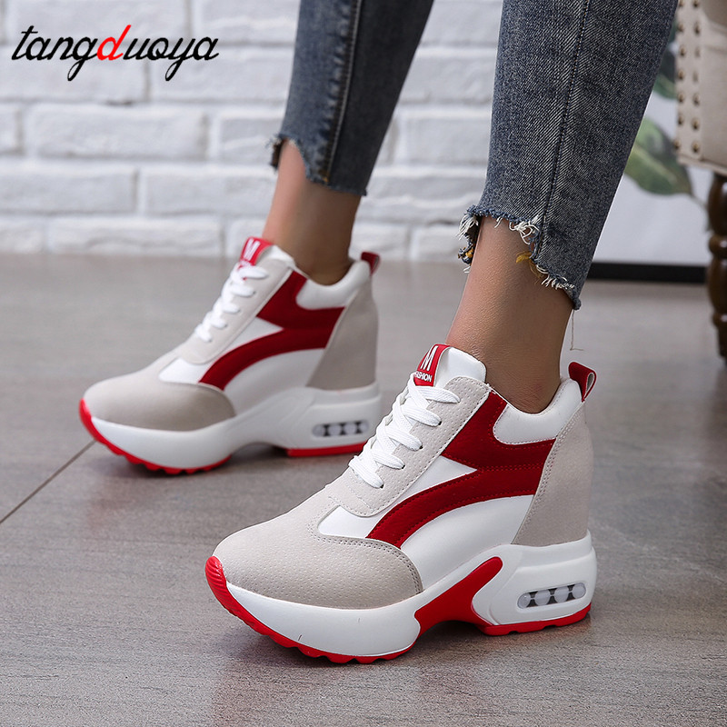 New Casual High Platform Shoes Women Breathable Height Increasing Shoes Thick Sole Trainers Sneakers Woman Deportivas Mujer