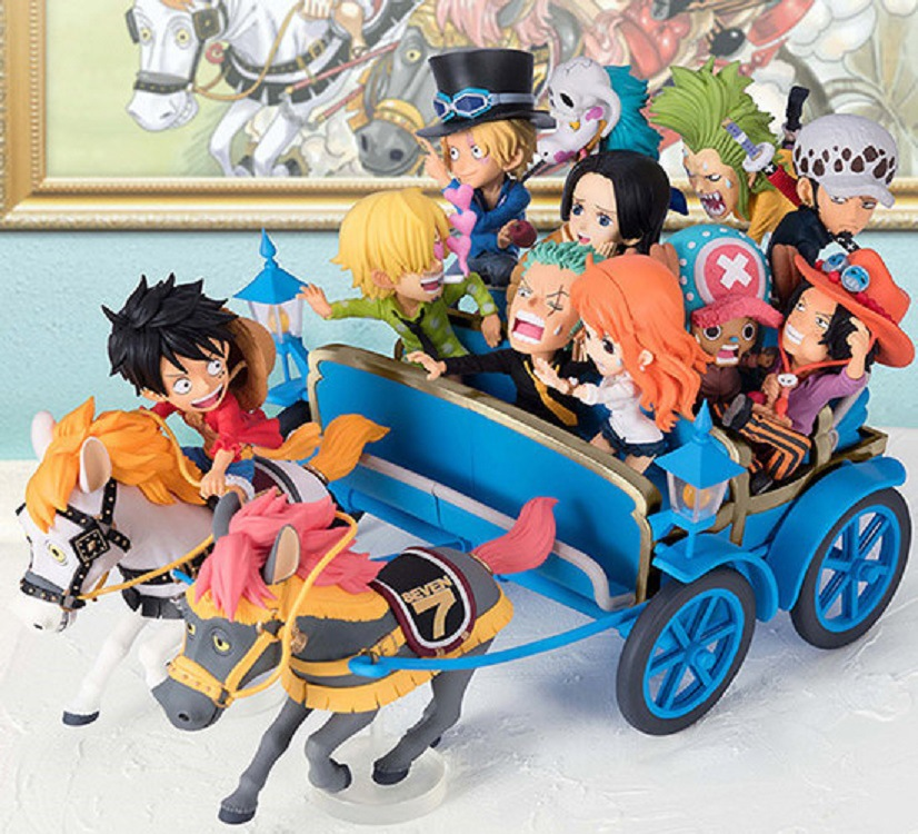 [Top] Anime <font><b>One</b></font> <font><b>Piece</b></font> 20th Anniversary Carriage <font><b>Ichiban</b></font> <font><b>Kuji</b></font> WCF Luffy Zoro Sanji Nami PVC Action Figure Collection Model toy image
