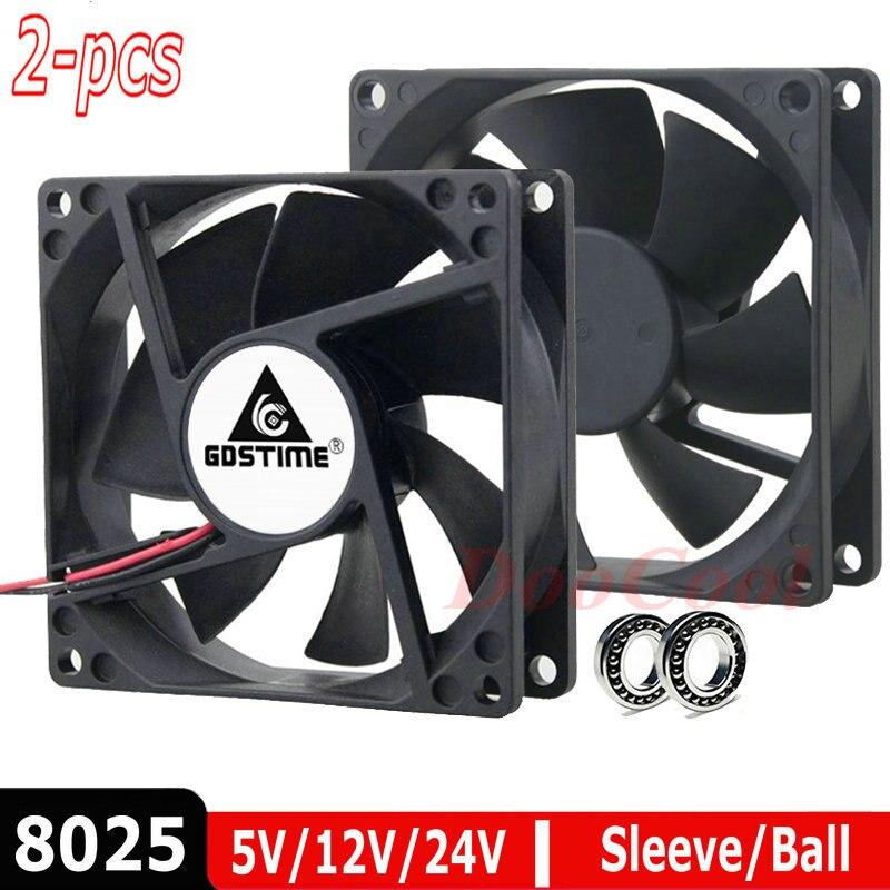 2 pièces LOT boule 8cm 80mm x 25mm 8025 5V 12V 24V 48V DC sans brosse coque d'ordinateur PC CPU ventilateur de refroidissement refroidisseur 2 broches 3Pin radiateur