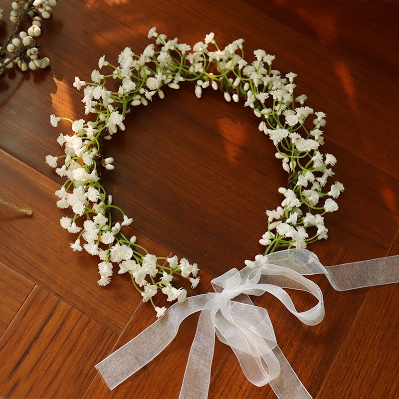 Flower Crowns Tiaras Hair-Accessories Hairbands Bride Wedding White Breathable Women