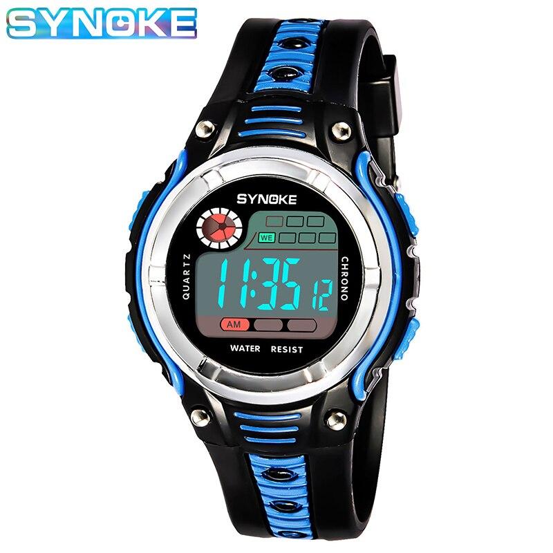 SYNOKE 2020 Новинка Дети% 27 Цифровые Часы Мода Двухцветный Ремешок Водонепроницаемый Противоударный Спорт Часы Для Детей Цифровые Часы