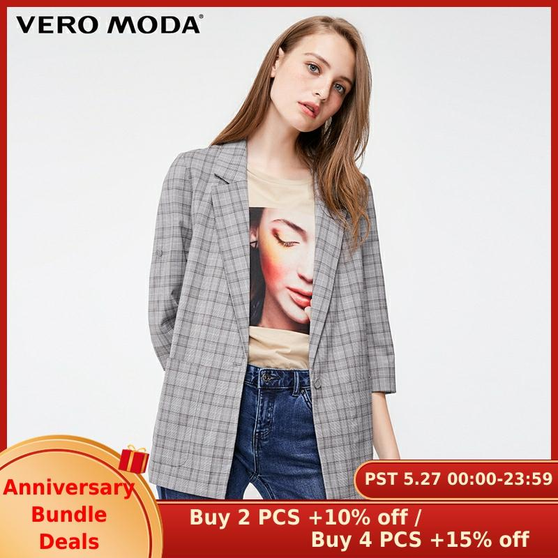 Vero Moda Women's Plaid Print 3/4 Sleeves Long Jacket Blazer | 318308511