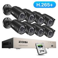 Nuevo ZOSI 8CH sistema CCTV H.265 + HD-TVI DVR kit 8 1080p seguridad del hogar impermeable Visión Nocturna exterior Cámara Kit de videovigilancia