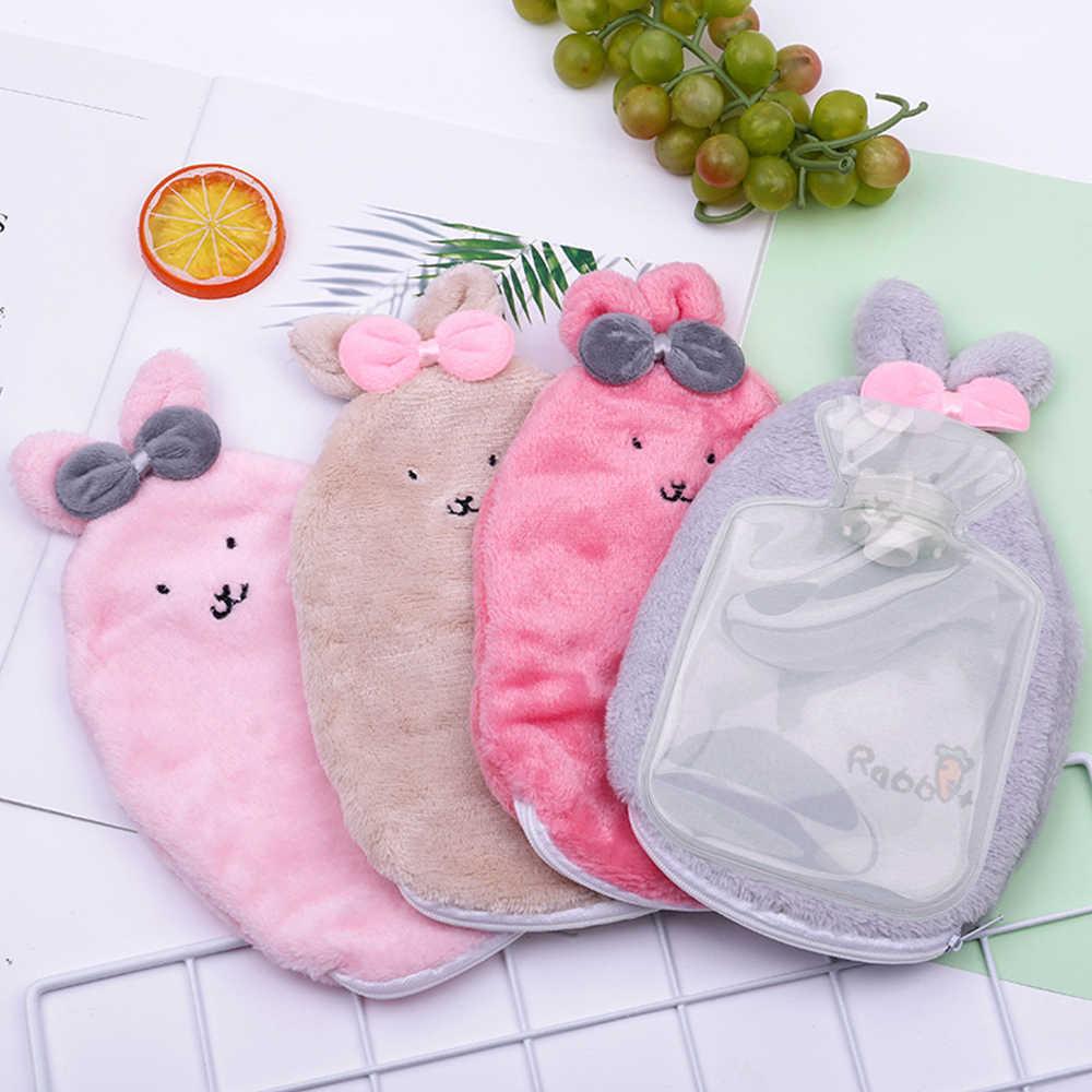 Kreative Cartoon Multicolor Kaninchen Pelz Set Heißer Wasser Tasche Explosion-proof Mini Tragbare Hand Wärmer Mädchen Nette Mädchen Warme handtasche