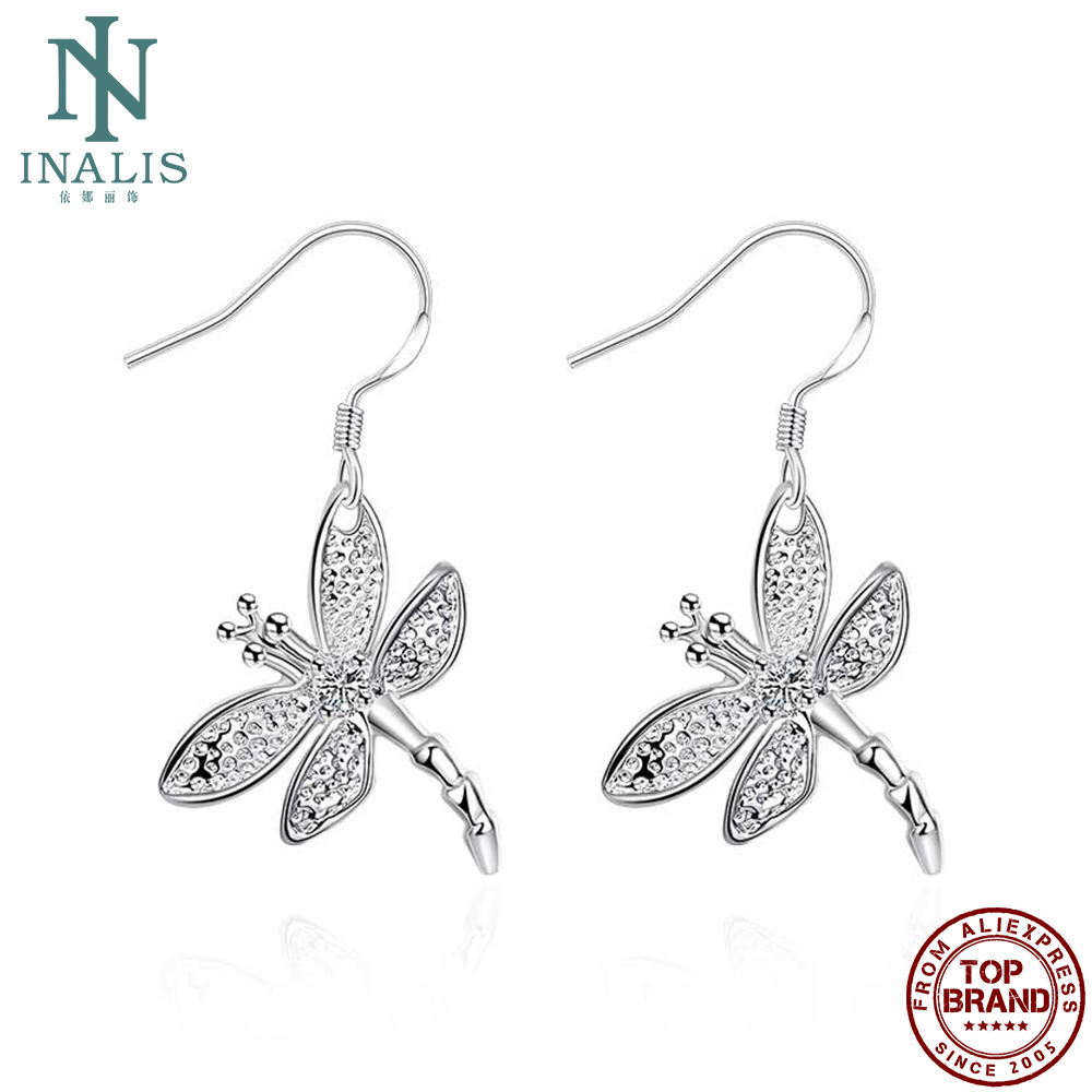 INALIS Dragonfly Dangle Earring Silver Plated Drop Earrings Friends Christmas Gift Fashion Earrings For Women 2021 Statement
