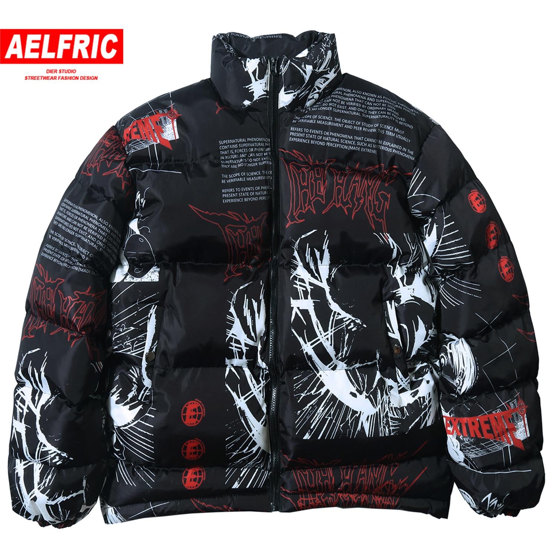 Aelfric/японская куртка в стиле хип хоп; парка; Повседневная теплая куртка с принтом с героями мультфильмов; пальто; коллекция 2019 года; Harajuku; ули...