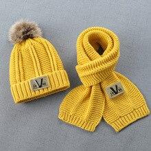 KENSHELLEY winter warm Hat scarf two-piece suit plus velvet autumn and winter boys girls fur pom pom hat suit with Fleece Lined
