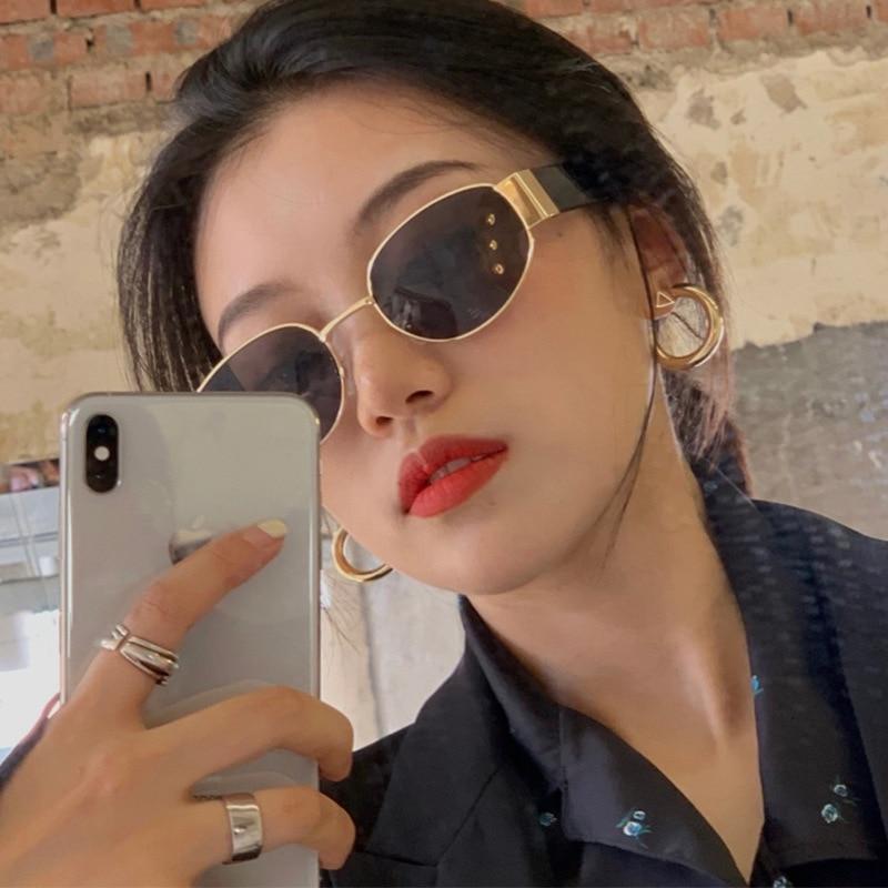 Retro European and American ins glasses fashion women sunglasses pop pop up duck egg oval metal photo decoration Sunglasses cool girl (1)