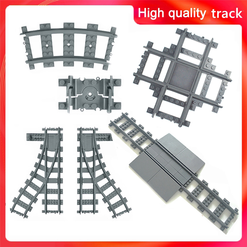 City Trains Train Track Rail Bricks Model  Toy Soft Track& Cruved& straight For Kids Gift Compatible All Brands Railway