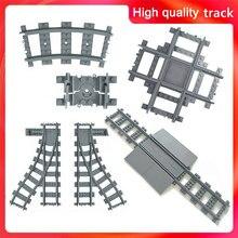 Tren de ciudad para niños, modelo de bloques de tren de pista, juguete de pista suave, cruzado y recto, regalo Compatible con todas las marcas