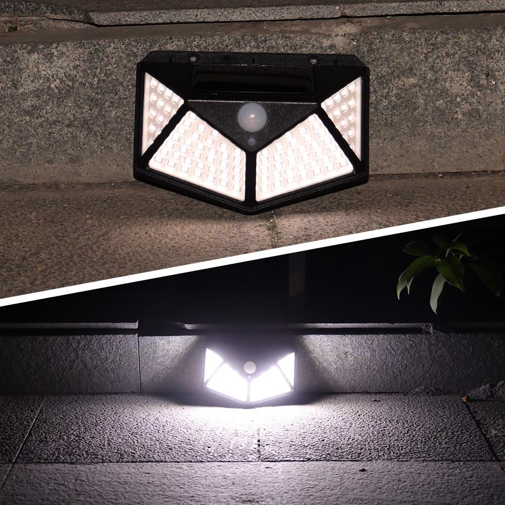 100 светодиодный светильник на солнечных батареях с датчиком движения PIR настенный светильник s наружный сад Новогодняя уличная лампа водоне...