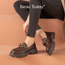 BeauToday Chunky Müßiggänger Frauen Echte Kuh Leder Plattform Schuhe Runde Kappe Metall Kette Slip auf Damen Wohnungen Handgemachte 27748
