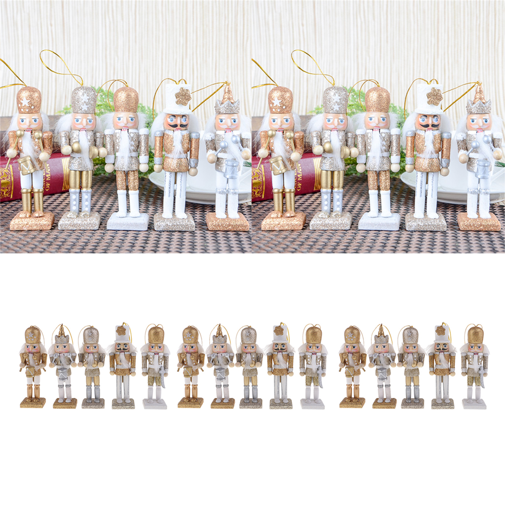 15pcs Christmas Decor Ornaments Wooden Nutcracker Figurine Puppet Doll Toys