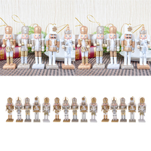 15pcs Christmas Decor Ornaments Wooden Nutcracker Figurine Puppet Doll Toys
