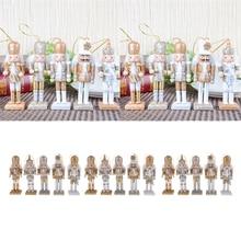 15pcs חג המולד דקור קישוטי עץ מפצח אגוזים פסלון בובות בובת צעצועים