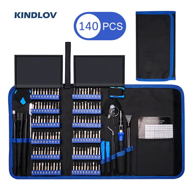 KINDLOV Precision Screwdriver Set 140 In 1 CR V Screwdriver Bit Magnetic Torx Hex Screw Driver Bits Electronics Repair Tool KitScrewdriver   -
