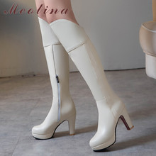 Meotina Winter Knee High Boots Women Zipper Platform Thick Heel Tall Boots Sexy Super High Heel Shoes Lady Autumn Big Size 33-43 sorbern white platform shoes knee high boots for women wedge high heel ladies shoes booties womens shoes custom colors big size