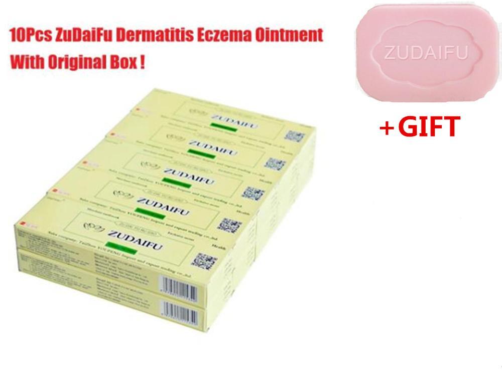 10pcs/lot ZUDAIFU Natural Skin Creams Eczema Ointments Psoriasis Eczema Allergic Neurodermatitis+Soap(Have Products Retail Box)
