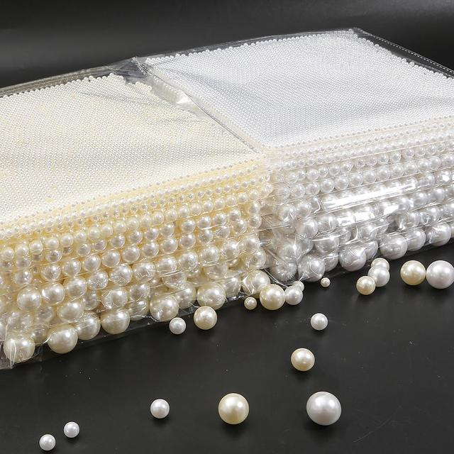 2-18mm No Hole white round plastic Acrylic ABS Imitation pearl beads charm loose beads Counter display bead craft Jewelry Making