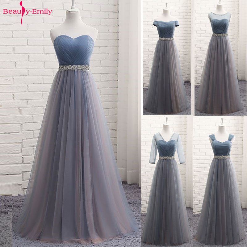 Beauty-Emily Hot Tulle V Neck Evening Dresses Long For Women 2020 Elegant Formal Party Dress A-line Prom Gown Plus size Vestido 1