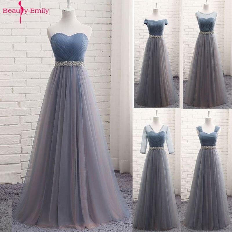 Beauty-Emily Tulle Long Evening Dresses Elegant Formal A-line Party Dress Vintage Prom Gown Floor-Length Plus Size Vestido 2020