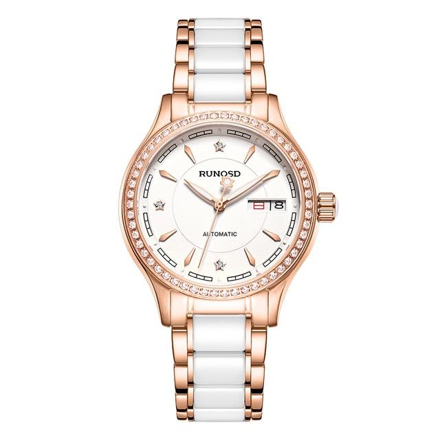 RUNOSDLadies Watch Luxury Rose Gold Zircon Day Calendar miyota Mechanical Movement Sapphire Crystal Stainless Steel 8157LS 6