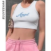 Boofeenaa天使の手紙刺繍リブニット白クロップトップセクシーなファッションの女性のタンクスポーツ夏の服の女性C98-H51