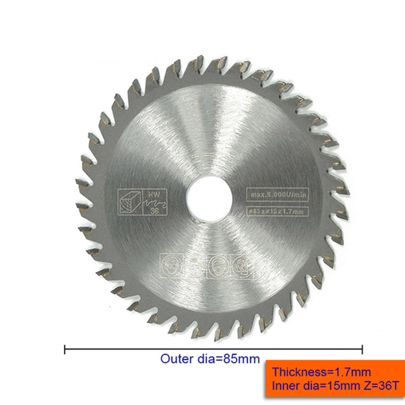 1pc 85mm 36 Teeth Mini Circular Saw Blade Disc Wood Cutting Tool Bore 15mm For Rotary Tool Woodworking
