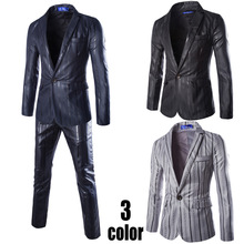 Men's new Europe and the United States a button suit suit men tide slim coat vertical stripes small suit two-piece mens tuxedo europe and the united states high end red small suit women s long sleeve suit jacket office interview work and leisure two set