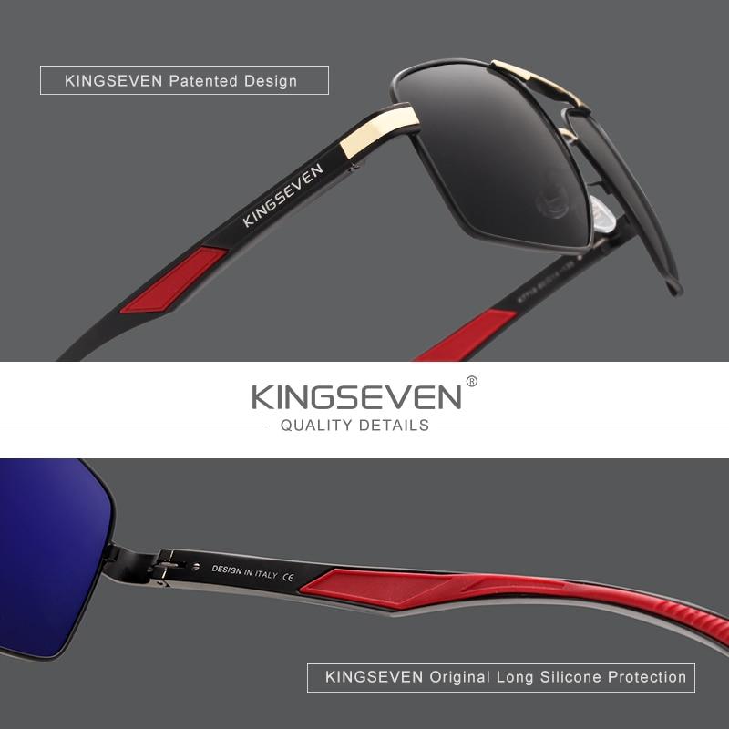 KINGSEVEN Aluminum Men's Sunglasse Polarized Lens Brand Red Design Temples Sun glasses Coating Mirror Glasses Oculos de sol 7719 2
