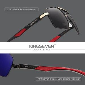 Image 2 - Kingseven   lunettes de soleil pour hommes, lunettes de soleil en aluminium pour hommes, lunettes de soleil à verre polarisé et design rouge temples, lunettes à miroir, 7719
