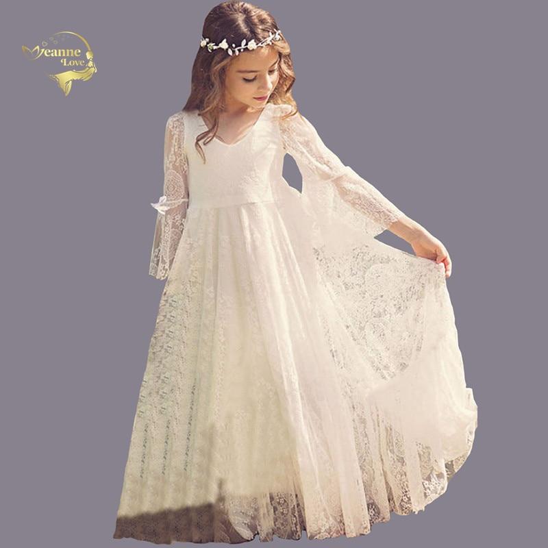 Cheap Kids Formal Wears Girls Birthday Dresses Long Sleeves Empire Boho Summer Beach Flower Girl Dresses For Garden Weddings